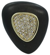 Roberto Coin Capri Plus Silver Plated Ebony Wood and 0.90ct. Diamond Ring Size 6.5