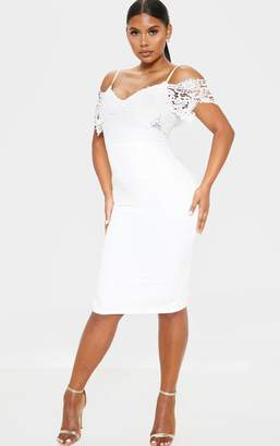 PrettyLittleThing White Lace Cami Cold Shoulder Bodycon Midi Dress