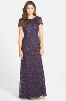 Adrianna Papell Short Sleeve Sequin Mesh Gown (Regular & Petite)