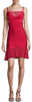 Herve Leger Lace-Inset Bandage Slip Dress, Red