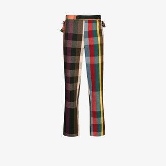 Bode Workshop high-waisted plaid cotton trousers