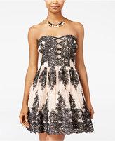 Trixxi Juniors' Strapless Lace Fit & Flare Dress