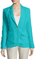 Neiman Marcus One-Button Fitted Linen Blazer, Plus Size