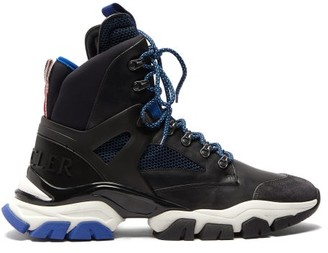 Moncler Tristan Leather And Mesh Hiking Trainers - Black Multi