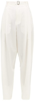 Edward Crutchley Pleated Belted Wool Trousers - Womens - Ivory