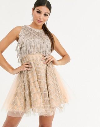 A Star Is Born fringe embellished skater dress-Silver