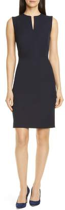 Nordstrom Signature Split Neck Cotton Blend Twill Sheath Dress
