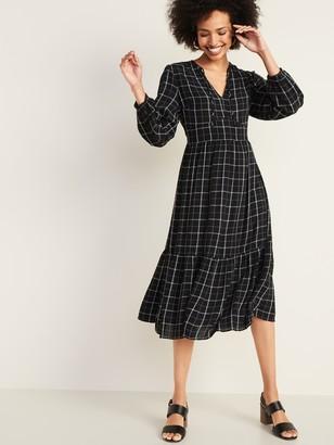 Old Navy Empire-Waist Split-Neck Midi Dress for Women
