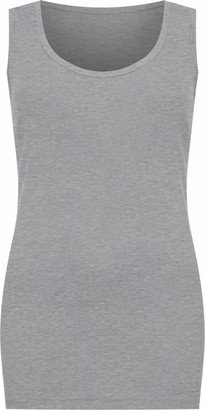 WearAll Plus Size Womens Plain Ribbed Ladies Sleeveless Scoop Neck Vest Top - Grey - 22-24