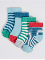 Marks and Spencer 4 Pairs of Cotton Rich Socks with StaySoftTM (0-24 Months)