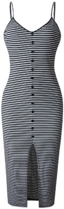 Goodnight Macaroon 'Meg' Striped Button Front Strap Knit Dress (2 Colors)