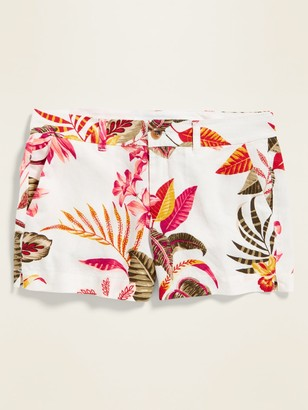 Old Navy Mid-Rise Printed Linen-Blend Everyday Shorts for Women - 3.5-inch inseam