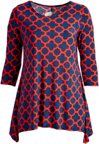 Glam Red & Navy Lattice Sidetail Top - Plus