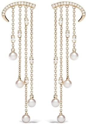 Yoko London 18kt yellow gold Sleek Akoya pearl and diamond earrings