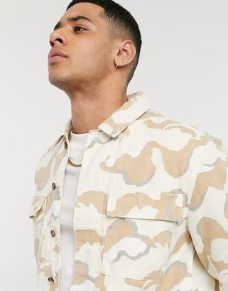 Topman long sleeve overshirt in camo print
