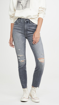 Mother High Waisted Looker Ankle Nick Fray Jeans