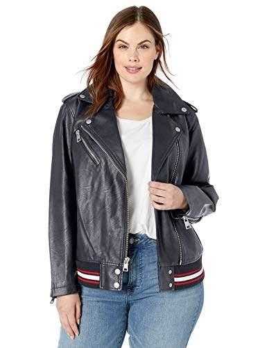 b5be80ac2 Women's Plus Size Rib Knit Faux Leather Moto Bomber Jacket