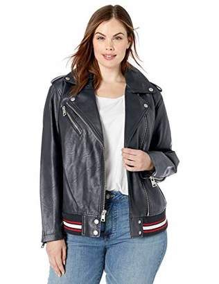 Levi's Women's Plus Size Rib Knit Faux Leather Moto Bomber Jacket