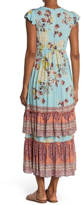 Angie Twist Front Ruffle Sleeve Maxi Dress