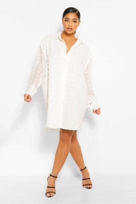 boohoo Plus Dobby Textured Long Sleeve Shirt Dress