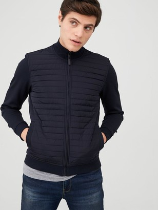 Ted Baker Long Sleeve Quilted Funnel Neck Jacket - Navy