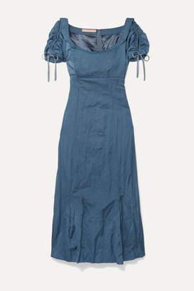 Brock Collection Ruched Crinkled Matte-satin Midi Dress - Light blue