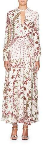 Valentino Long-Sleeve Keyhole-Neck Printed A-Line Long Dress