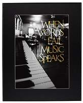 """Old Glory Words Fail Music Speaks Inspirational Quote Framed Print w/ Black Mat - 11"""" x 14"""""""