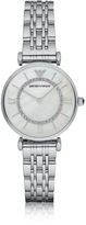 Emporio Armani T-Bar Silvertone Stainless Steel Women's Watch w/Mother of Pearl and Crystals Dial