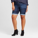 Ava & Viv Women's Plus Size Denim Bermuda Short Dark Wash