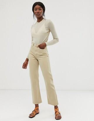 Weekday Row organic cotton slim straight leg jeans in sand