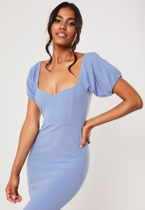 Missguided Bridesmaid Blue Sweetheart Puff Sleeve Maxi Dress
