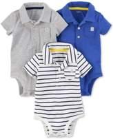 Carter's 3-Pack Polo-Neck Cotton Bodysuits, Baby Boys