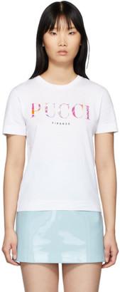 Emilio Pucci White Printed Logo T-Shirt