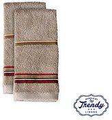 Madison Stripe Finger Tip Towels - Bathroom Shower Collection - Set of 2 Washcloths - Exclusive Towel Set by Trendy Linens