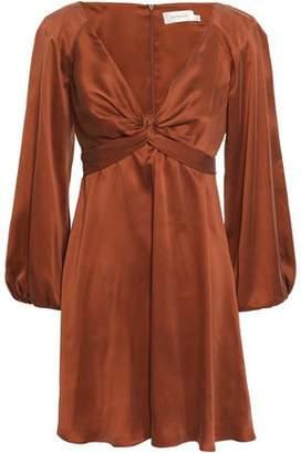 Zimmermann Bow-detailed Washed-silk Mini Dress