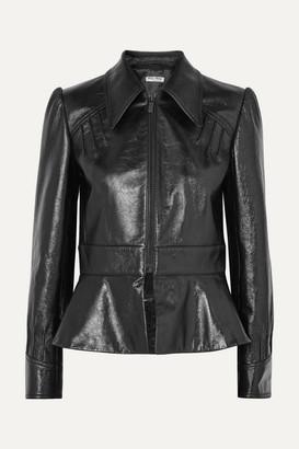 Miu Miu Glossed-leather Peplum Jacket - Black