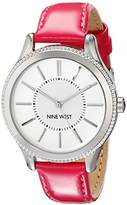 Nine West Women's Quartz Watch with White Dial Analogue Display and Pink PU Strap NW/1703SVPK