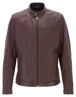 HUGO BOSS - Regular Fit Blouson Jacket In Nappa Leather - Dark Red