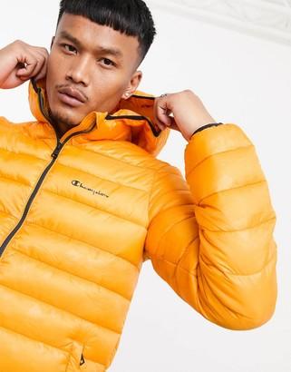 Champion padded jacket with hood in orange camo