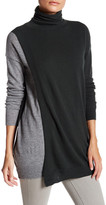 Autumn Cashmere Long Sleeve Color Block Overlap Cashmere Sweater