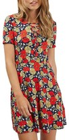 Topshop Women's Poppy Print Lace-Up Minidress