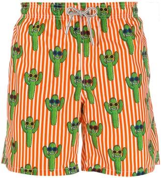MC2 Saint Barth Cactus Print Striped Swim Shorts