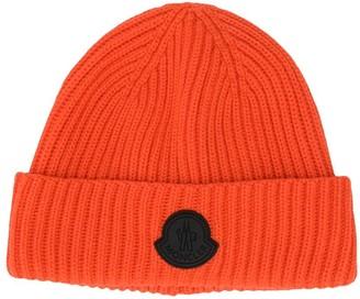 Moncler Enfant Logo-Patch Ribbed Beanie Hat