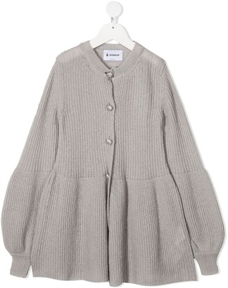 Dondup Kids Rhinestone Embellished Ribbed-Knit Cardigan