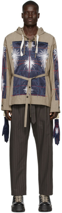 Craig Green Khaki and Navy Embroidered Cagoule Hoodie