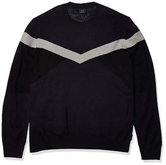Armani Exchange A|X Men's Crew Neck Pullover with Colorblock Upper Arm