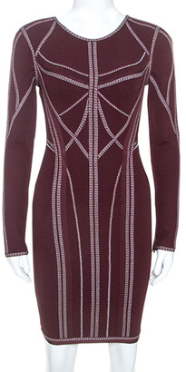 Herve Leger Burgundy Long Sleeve Metallic Trim Elaina Bodycon Dress XS