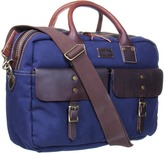 Cole Haan Hermitage Zip Top Brief (Navy Canvas/Woodbury) - Bags and Luggage