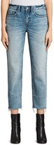 AllSaints Frayed Boyfriend Jeans in Light Indigo Blue